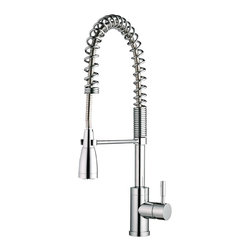 Belle Foret - Belle Foret BF415CP Brass Works Pro Pre Rinse Kitchen Faucet in Chrome - Belle Foret BF415CP Brass Works Pro Pre Rinse Kitchen Faucet in ChromeThe Belle Foret collection includes a full range of kitchen and bath faucets, copper basins, bathtubs, and bath vanities in timeless finishes to perfectly complement any décor. True to the Country French design, these distinctively elegant faucets and fixtures are graced by the rich patina of time - without the wait or expense.This Belle Foret Pro Pre-Rinse Kitchen Faucet is the perfect choice for your new kitchen makeover. Its contemporary design will bring a bold statement your new kitchen makeover. Pull-down sprayer makes washing dishes and cleaning out your sink more convenient. This pro pre rinse single handle kitchen faucet has an optional cover plate (deck plate); can be installed as a single hole or 3 holes by using the optional cover plate.Belle Foret BF415CP Brass Works Pro Pre Rinse Kitchen Faucet in Chrome, Features:• Pre-Rinse Faucet