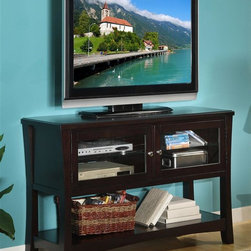 Legends Furniture - Ritz TV Console w Shelf - Two doors. Two shelves behind each door. Provision for cable management. Limited lifetime warranty. Made from solid poplar, glass and MDF, PB with birch veneer. Dark chocolate finish. Door: 22.63 in. W x 12 in. H. Shelf: 23.25 in. L x 12.5 in. W. Distance between shelf and door: 10.13 in. H. Overall: 52 in. W x 18 in. D x 32 in. H. Assembly Instructions