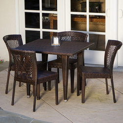 Christopher Knight Home - Christopher Knight Home Dusk 5-piece Outdoor Dining Set - This unique outdoor dining set is constructed from wicker and iron for superior durability. It features four chairs to seat your party guests comfortably. The heavy-duty design will take the abuse of being outdoors so it will last for years to come.