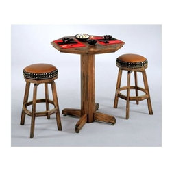 """Mikhail Darafeev - Alta Loma 3 Pc Game Top Pub Table w Bar Stool - Fabric: Bellamy SalsaSet includes Pub Table and 2 Bar Stools. Finish/Construction Material: Oak. Made in USA. Inlaid Chess or Backgammon. Chess or Backgammon inlay is only available in 36"""" diameter top. As shown material may not be available. Collection: Alta Loma. Some assembly required. Top: 30 in. Dia.. Table: 36 in. H (65 lbs.). Bar Stool: 19 in. W x 19 in. D x 26 in. H (30 lbs.)"""