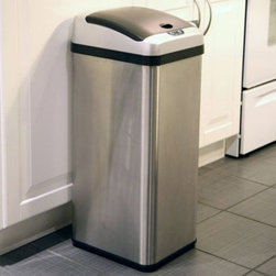 "iTouchless - iTouchless IT13RX Trashcan RX Stainless Steel 13 gal. Trash Can Multicolor - IT1 - Shop for Trash Receptacles from Hayneedle.com! Reduce the mess in your kitchen with the iTouchless IT13RX Trashcan RX Stainless Steel 13 Gallon Trash Can. This 100% touch-free trash can uses the AI Smart-Chip M technology to open the lid when it detects movement within 6 inches and it has the capacity to hold larger items like a full-size pizza box. The Advanced Seal technology features sealed-away lid hinges for better performance and easier cleaning as well as longer-lasting and quieter lid operation. The rectangular 13-gallon RX trash can is constructed from durable stainless steel with a brushed silver finish. Its removable top cover allows for easy cleaning. It also helps prevent contamination which reduces the threat of certain illnesses and infections. The water-resistant sensor guard prevents liquid and stain damage. Even better your kids will have the enjoyment of throwing the trash away into the ""magically"" opening container. Other features include a dust-resistant lid air-escape holes at the base for trash bag removal and a carrying handle for easy lifting. Uses 4 D-size batteries (not included) with an optional AC power adapter. The lid has a three-year warranty. Dimensions: 13L x 10.5W x 28.25H inches.About iTouchlessiTouchless Housewares & Products creator of the Touchless Trashcan EZ Faucet and Towel-Matic manufactures and distributes a line of innovative products for your home and office. Their mission: to make people's lives a little easier by using their products. Over the last 15 years iTouchless has established a solid foundation and assembled multiple factories in Asia to support the increasing demand of sensor-activated products. Their vision for the future is to create a continuous stream of customer-driven innovations while selecting strategic partners and distributors to form mutually beneficial relationships."