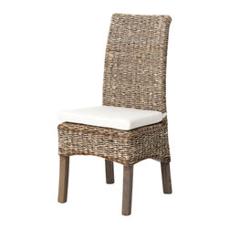 Marco Polo Imports - Kasper Banana Leaf Chair with Cushion - Classic armless dining chair weaved from canvas with a banana leaf cushion in a beige finish.