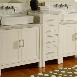 """J & J International - 84"""" Horizon Double Vanity Set in Pearl White Finish and White Carrera Marble Top - Yes, you just saw a furniture style vanity with wall mount faucets. When you open any bathroom magazines, you would for sure notice many designer installations with wall mount faucets. Who wouldn't want something like that? But-�wall mount faucets require the wall to be cut open, additional braces to be built between studs (space between faucets are limited by the location of the studs), patch the wall back and finish with back splash (in most cases slabs of natural stone), it had to go with custom cabinetry as prefabricated furniture style vanity cabinets do not work with wall-mount faucets. Total cost including all the labors and custom cabinets-�easily exceed $6000, and let's not start with the amount of time it needs to complete. With the Off-the-Wall Wall-Mount system (US Utility Patent Pending) here, we make the installation of wall mount faucet all within the cabinet so you do not need to mess with the wall. This is a pilot product line and you would be-�the first group of customers-�that has a-�furniture style vanity with wall mount faucets in your bathroom at an affordable price. Here are some of the important facts before your purchase,All doors leading to the bathroom need to be at least 25"""" wide.The rough in plumbings (hot/cold water supplies) need to be 24-28"""" above the floor, 49"""" drain to drain.We highly recommand the use of Danze Rough-in valve model D106800BT as the system pair with this rough in valve therefore can be installed and ready to use in minutes.Introducing our exclusive 84""""-�Horizon Double Bathroom Vanity Sink Console with-�pearl white-�finish perfectly combines sleek contemporary design with optimal concealed storage space for a truly exceptional bathroom vanity design. Double white porcelain-�rectangular-�vessel sinks blend into the contrasting-�Carrera white marble countertop specifically selected for this-�popular double vanity. Co"""