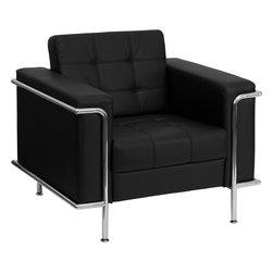 Flash Furniture - Flash Furniture Hercules Lesley Series Contemporary Black Leather Chair - This attractive black leather reception chair will complete your upscale reception area. The design of this chair allows it to adapt in a multitude of environments with its tufted cushions and visible accent stainless steel frame. [Z-BLESLEY-8090-CHAIR-BK-GG]