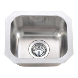 """Wells Sinkware - Wells Sinkware Square Bar Sink - 18 gauge deck and bowl undermount, Type 304 Premium stainless steel, Exclusive UNIPOLISH polishing technique, Consistent and uniform DuraSatin finish, Deck and bowl circle-welded structure, Flat sink bottom, Heavy duty sound absorbent coating & padding, Flush or 1/4"""" reveal 2-in-1 cutout template, Drain openings: 3 1/2"""", Drain placement: Centered, Mounting hardware included, Limited lifetime warranty, Complies with ASMEA 112.19.3-2008/CSA B45.4-08"""