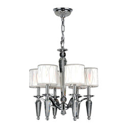 Worldwide Lighting - Gatsby Collection 6 Light Chrome Finish & Clear Crystal with White Fabric Shade - This stunning 6-light chandelier only uses the best quality material and workmanship ensuring a beautiful heirloom quality piece. Featuring a radiant chrome finish, beautiful curved arms with fabric shades which support 6 candelabra lights and crystal embellishments made of finely cut premium grade 30% full lead crystal, this chandelier will give any room sparkle and glamour. Worldwide Lighting Corporation is a premier designer manufacturer and direct importer of fine quality chandeliers, surface mounts, and sconces for your home at a reasonable price. You will find unmatched quality and artistry in every luminaire we manufacture.