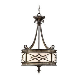 "Franklin Iron Works - Traditional Traditional 19 1/2"" Wide Bronze Drum Pendant Light - Take a trip to the glamorous days of old with this alluring bronze iron drum pendant chandelier. The frame features curves lines and carved shapes that highlight the inner white drum shade. A great look for a hallway stairway or any space that needs a traditional antiqued accent. Metal frame. Aged bronze finish. White inner drum shade. Takes three 100 watt bulbs (not included). 19 1/2"" wide. 28 1/2"" high. Includes 6 feet chain and 12 feet wire. Canopy is 5"" wide. Hang weight is 11 pounds.  Aged bronze finish.    White inner drum shade.   Takes three 100 watt bulbs (not included).   19 1/2"" wide.   28 1/2"" high.   Includes 6 feet chain and 12 feet wire.   Canopy is 5"" wide.   Hang weight is 11 pounds."