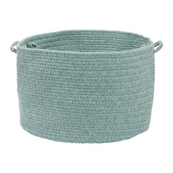 """Colonial Mills - Allure Storage Basket - Aqua, 18""""x12"""" - Braided wool in a refreshing light aqua shade gives this storage basket a soft, natural look and is perfect for storing towels, blankets or just about anything."""