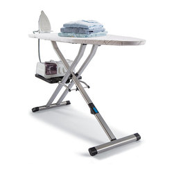 """Frontgate - Rowenta Pro Compact Ironing Board - Steel and aluminum frame. Superior cushioned pad and thick-braided cotton cover for exceptionally smooth results. Sturdy bottom mount holds your steam station or additional garments. Length reduces from 54"""" to 45"""" for storage. Height adjustable from 20"""" to 38"""". The innovative Rowenta Pro Compact Ironing Board features a unique folding design that reduces the overall length from 54"""" to 45"""" for easier storage. The sturdy steel and aluminum frame provides maximum stability and features an extra-large ironing surface.  .  .  .  .  ."""