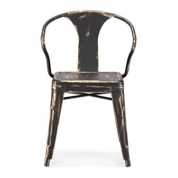 Zuo Modern - Zuo Modern Helix Modern Era Dining Chair (Pack of 2) X-741801 - This chair is made of a solid steel frame in a rustic antiquate black with gold accents finish.