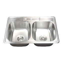 """Ariel - 33 Inch Stainless Steel Top Mount Drop in Double Bowl Kitchen Sink - 18 Gauge - Crafted from high quality 18-gauge stainless steel, this drop-in sink features spacious 50/50 double bowls for food preparation and cleaning. Dimensions 33"""" x 22"""" x 9""""."""