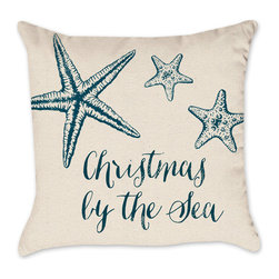 Coastal Pillow Cover - Christmas by the Sea Cotton Duck Natural Throw, 18x18 - Check out our Christmas pillow line!  We love the holidays and have been working as hard as Santa's elves designing pillows!