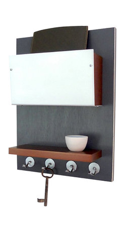 Pig and Fish - Minimal Modern Wooden Wall Mounted Device Storage Key Rack Organizer, Dwell Gray - Organize your everyday items and reduce visual clutter with our wall mount storage unit.  The clean lines of our wall mount storage unit make the perfect match for an urban chic look!  Our wall mount device organizer was designed with small items in mind - a handy place to hang your keys, a small pocket to drop in your ipad, cords or wallet and nifty shelf to place your cell phone or glasses. The small pocket above is faced off with a brushed aluminum front that has wooden sides painted in same color as the shelf below. This piece comes in different color combinations and each piece is individually hand painted before assembly.  The edges of the solid background are sanded to reveal the natural wood tones below.  The hooks along the bottom are hand bent here in the studio and are the perfect spot for keeping track of your keys!