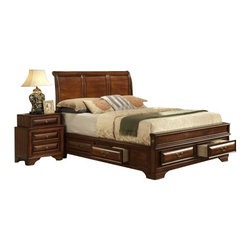 """CBCB3300 - 4-Piece Lucerne Collection Queen Antique Cherry Finish Wood Sleigh Bed Headboard - 4-Piece Lucerne collection queen antique cherry finish wood sleigh bed headboard with storage drawers and low foot board. This set includes the queen bed frame set, one nightstand, Dresser and Mirror. bed measures 89"""" x 65"""" x 54"""" H. Nightstand measures 24"""" x 17"""" x 29"""" H. Dresser measures 68"""" x 17"""" x 44"""" H. Mirror measures 45"""" x 1"""" x 33"""". Some assembly may be required. Optional chest available separately at additional cost and measures 37"""" x 17"""" x 52"""" H."""