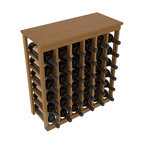 36 Bottle Kitchen Wine Rack in Redwood with Oak Stain + Satin Finish - A small wine rack with big storage. This wine rack kit is the best choice for converting tiny spaces into big wine storage. The solid wood top excels as a table for wine accessories, small plants, and wine collectables. Store 3 cases of wine properly in a space smaller than most entry tables!