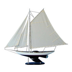 "Handcrafted Model Ships - Modern Decor Sloop 40"" - Wood Sailing Yacht Model - Not a model ship kit... Attach. Sails and the Bermuda Sloop model yacht is Ready for Immediate Display. These grand sailing ship models are perfect for any home, beach house or office as the proud centerpiece for a nautical decor themed sunroom or inspirational highlight of a corporate meeting room. Beauty and grace combine in the Modern Decor Sloop model yacht to emanate elegance and a winning spirit. 40"" L x 6"" W x 36"" H."