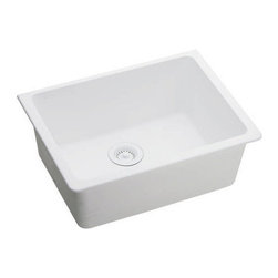 "Elkay - Elkay ELGU2522WH0 White E-Granite Gourmet E-Granite 25""(L) x - Elkay Gourmet E-Granite 25""(L) x 18-1/2""(W) Single Basin Undermount Kitchen Sink Molded from Elkay E-Granite which is up to 85% natural quartz and high performance acrylic resins. E-Granite is non-porous and resists staining. E-Granite is hard enough to resist scratches and chips. The color is solid throughout the sink and is UV resistant to prevent color-fading in indoor applications. Universal mount sinks can be installed as a Top mount or undermount. Both types of clips are provided. Product Features:  Undermount Single basin sink e-Granit Naturally sound deadened Heat resistant  Product Specifications:  Installation Type: Undermount Material: E-Granite Number of Basins: 1 Minimum Cabinet Size: 30"" Sink Dimensions: 25"" L x 18-1/2"" W Bowl Depth: 9-1/2"" Bowl Dimensions: 22-3/8"" L x 16-3/8"" W x 9-1/2"" D Faucet Holes: 0 Drain Size: 3-1/2"" Ship Wt: 41 lbs  Product Certifications and Compliances:  ANSI/NSF61 - Certified ASME 112.18.1/CSA B125-01 IAPMO Listed"