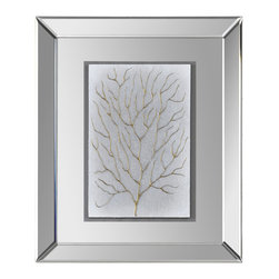 Branching Out I - Sea inspired branches are hand-painted on a light grey textured background and float beautifully in a mirrored frame.