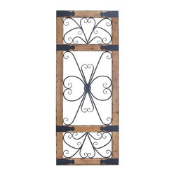 """Benzara - Wood and Metal Wall Panel with Contrasting Colors - Wood and Metal Wall Panel with Contrasting Colors. Epitomizing expert craftsmanship, this wonderful wall panel is the perfect choice to fill your home decor with areas of visual appeal and charm. It comes with the following dimensions 31"""" W x 1.5"""" D x 78"""" H."""