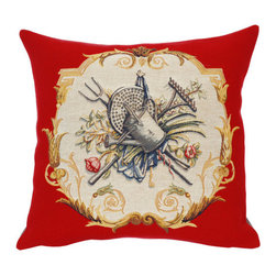 "Jules Pansu - French Tapestry Cotton Arrosoir Pillow - Includes a decorative pillow insert filled with 95% white goose feathers/5% white goose down in 210 thread count cotton twill. Features: -Collection: French Tapestry. -Color: Red Multi. -Material: Cotton. -210 Thread count. -Insert filled with 95% white goose feathers/5% white goose down. -Dry clean only. -Made in the USA. Dimensions: -18"" H x 18"" W, 2 lbs."
