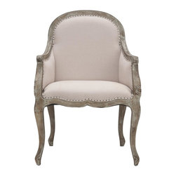 Safavieh - Esther Arm Chair - Integrate the refined beauty of French classical furniture into modern-day interiors with the camelback Esther arm chair. Classic Louis XV bergere styling, with flat black nailheads outlining a tight back and seat upholstered in taupe linen, contrasts an elegant, curvy exposed pickled oak frame. Choose the Esther chair for graceful proportions that have outlived three centuries of changing home fashion.