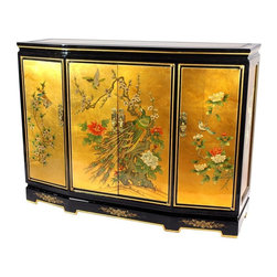 "Oriental Furniture - Gold Leaf Slant Front Cabinet - This 40"" Gold Leaf Slant Front Cabinet is overlaid with striking 24-carat gold leaf, then hand-painted with a delicate birds and flowers design. This piece was handmade by a family of artisans in Guangdong employing traditional Chinese finishing techniques, bringing three generations of craftsmanship right to your home. A truly unique piece, it measures 30 inches in height and boasts four doors with three removable interior shelves."
