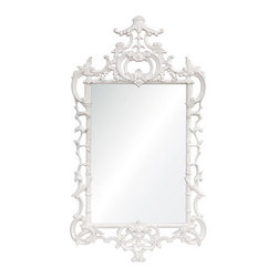 White Lacquered Chippendale Mirror - This ornate mirror will add a touch of glamour to any space, whether it be a living room or entrance. Its white tone is more subdued than its gilded counterpart, making it perfect for standing out on a colored wall.