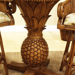 Hospitality Rattan - Sunset Reef Pineapple Pub Table in TC Antique - This product is warranted for indoor use. Pineapple decor Pub Table with 36 in. Round Glass. Finished in TC Antique Color. Fiberglass casting construction. Rattan poles decor along the top of the pub table. Fully assembled. 24 in. W x 24 in. D x 42 in. H (50 lbs.)The Sunset Reef Pub table is styled in the shape off a pineapple. The finish is known as TC Antique, which coordinates with a variety of barstools.
