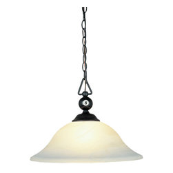 Elk - Designer Classics 1-Light Billiard/Island with White Faux Alabaster Glass Shade - This simple 1 light billiard light features a simple glass shade. It is an LED light with full scale dimming range. This functional light will blend in with any decor and serve its purpose while you entertain friends and family.