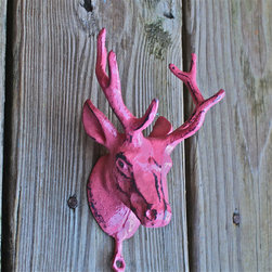 Metal Deer Hook, Berry Pink by Aqua Xpressions - The winter coats are gone, but there are spring jackets that need a place to hang. This guy's antlers are just the spot.