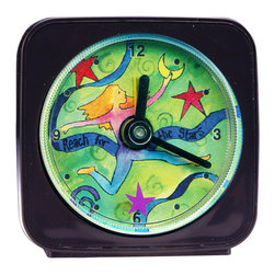 Reach For The Stars Alarm Clock - Our alarm clocks can't help but make you smile. On our Reach For the Stars Alarm Clock the little star floats magically around the edge of the clock as it counts the seconds. Made from an original painting, each clock is 2.25'' square with a round face. Each alarm clock comes in a gift box and includes a free battery. Made in the USA. (Be sure to look for our Reach for the Stars night light and wall clock, too!)