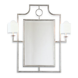 Kathy Kuo Home - Doheny Hollywood Regency Bamboo Silver Leaf Mirror With Sconces - This mirror and sconce combo offers up illuminating possibilities. With all the inherent glamour of Hollywood Regency style, its glitz factor is achieved through hand-finished gold or silver leaf around the metal frame. It's a welcome addition in the entryway, above a console or in the master bath.