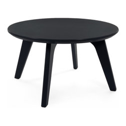 Loll Designs - Satellite End Round 26 Table, Black - In the context of outdoor lounging, a Loll Satellite accent table is a recycled polyethylene object placed into orbit around humans resting in Loll Furniture. Unlike the moon, the Loll Satellite Table actually rotates in conjunction with the Earth and her inhabitants, at just over 1,000 miles per hour, but appears to be sitting still. We think it's time for you to have your very own Satellite... perfect for star gazing on black nights with warm breezes and cold drinks. All Loll Satellite Tables are made with heavy duty 1 inch thick poly and available in an assortment of colors, shapes and sizes.