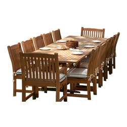 Westminster Teak Furniture - Veranda 13pc Teak Wood Dining Set - Large Rectangular Extendable Teak Table with 10 Teak Dining Chairs & 2 Premium Teak Armchairs.  Quality Rated 'Best Overall' by Wall Street Journal.  Lifetime Warranty, Risk Free Moneyback Guarantee.