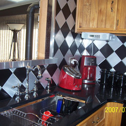 """Stainless Steel Tiles - 6"""" x 6"""" Brushed Aluminum Tiles and 6"""" x 6"""" Black Anodized Aluminum Tiles"""