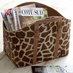 Hairhide Magazine Rack - Here is a stylish magazine holder that stands out from the herd, so to speak. This one would be great for a den or family room.