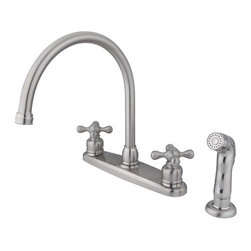 Kingston Brass - Double Handle Goose Neck Kitchen Faucet with Sprayer - This double handle kitchen faucet personifies the elegance of the early traditional American design. The faucet features an 8in. centerset platform with a high goose neck spout that rotates 360 degrees for accessibility and convenience. The body of the faucet is constructed in solid brass for durability and long-lasting usage with the finish made from satin nickel for corrosion and tarnishing resistance. The handle levers feature a 1/4-turn on/off mechanism for controlling water volume and temperature. The faucet operates with a washerless disc valve for drip-free functionality and has a 2.2 GPM (8.3 LPM) and a 60 PSI maximum rate. An integrated removable aerator is fitted beneath the spout's head piece for conserving water flow. A 10-year limited warranty is provided to the original customer. Non-metallic sprayer included.