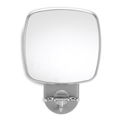 simplehuman - Wall Mount Shower Mirror Anti-Fog - Look at you, rocking out to the latest top 40 hit, holding your loofah like a microphone. You can see it clearly, thanks to this fog-free, pivoting mirror that has stronger hooks than the song you're singing. Just wait until your fans shower you with this kind of applause.
