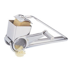 Cuisinox - Cuisinox Rotary Cheese Grater - Hand-crank cheese grater for fine grinding of hard cheese, nuts, and chocolate. Drum is open on side opposite crank to sprinkle gratings over food. Stainless-steel grating drum locks into place and can be removed for easy washing.