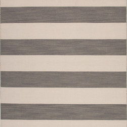 Jaipur Rugs - Flat Weave Stripe Pattern Gray /Black Wool Handmade Rug - PV35, 9x12 - Bold color is the name of the game with Pura Vida. This beautiful collection of durable, reversible flat-woven dhurries combines the classic simplicity of linear patterns with a decidedly modern palette for a look that's at once casual and sophisticated.