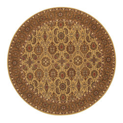 """Couristan - Royal Kashimar All Over Vase Rug 8132/2607 - 6'6"""" x 6'6"""" Round - With their soft touches of silk-like yarns these area rugs will add a touch of luxury to your room. You have several fabric options with this collection because of the amount of colors in these area rugs. Don't be afraid to mix large floral or pattern designs with this group. Because of the fine details in the patterns it makes the mixing easier."""