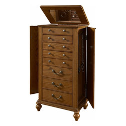 Powell - Powell Miscellaneous Accents Oak Veneer w/ White Ash Burl Jewelry Armoire - The Oak Veneer and White Ash Burl Jewelry Armoire is a classic addition to your bedroom or dressing area. The Jewelry Armoire features multiple drawers that provide a multitude of storage space for your jewels, gems and baubles. Each drawer is accented with simple, smooth bronze hardware. Sitting atop small curved feet, the armoire is sturdy and strong. The perfect stylish addition to a traditional or transitional space. Some Assembly Required.