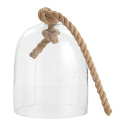 Kathy Kuo Home - Judd Coastal Beach Large Glass Nautical Cloche Twisted Rope - A world unto itself, this cloche or bell shaped glass terrarium with jute rope can contain plants or other botanical delights.  The choice is yours!