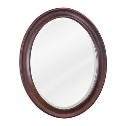 "Hardware Resources - Lyn Design MIR062 Wood Mirror - 23-3/4"" x 31-1/2"" Nutmeg oval mirror with beveled glass"