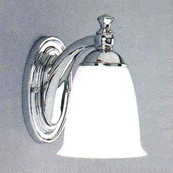 Progress Lighting - P3027-15:  Polished Chrome One-Light Bath Fixture - Sleek one light bath fixture is from the Victorian Bath collection.  Light has a polished chrome finish accented with white opal glass.  Note:  fixture can be mounted in an up or down position. Progress Lighting - 94302715