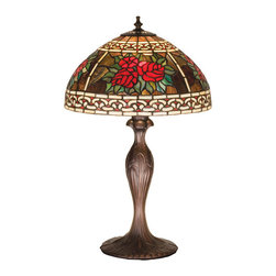 """Meyda - 22.5""""H Roses & Scrolls Table Lamp - Scrolls of ivory ribbons and bands border anenchanting bouquet of scarlet red roses surrounded bybronzed jade leaves on a crystalline plum multi coloredbackground. The hand cut glass and copper foil antiquereproduction tiffany style stained glass shade ispaired with a table lamp base in a mahogany bronzefinish. Bulb type: 3 way bulb quantity: 1 bulb wattage: 100"""