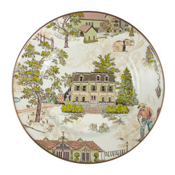 Aurora Enamel Dinner Plate | MacKenzie-Childs - What better way to celebrate our 30th birthday? Aurora, our newest enamelware pattern, tells the story of our place perfectly in repeat. Look closely to find hidden treasures, from Potluck Socks hanging on the laundry line just outside the Chicken Palace, to silhouettes of teapots hiding in the trees. Our goose, Simon, waddles through the gardens; Highland cattle graze in the fields; and beautiful ceramic urns are nestled into our frequently visited gardens and grounds. Portraits of our Farmhouse, Estate Barns, and Studio complete the setting. Aurora is designed to layer beautifully with our Courtly Check® and Parchment Check™ enamelware. Happy birthday, MacKenzie-Childs!