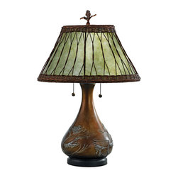 None - Highland Table Lamp - Enhance your home decor with a Highland table lamp Table lamp boasts a bronzed base with an embossed pine branch motif Lamp features a soft green mica shade with a wicker overlay