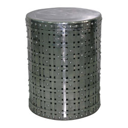 Four Hands - Marlow Woven Round Accent Table - With this strong and sexy friend by your side, who needs a band of gold? Bands of polished aluminum are wrapped, woven and riveted in a drum shape that's the perfect size for holding your drink beside a chair — or holding your derriere.