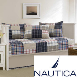 Nautica - Nautica Chatham Quilted 5-piece Daybed Set - This Chatham Daybed set features a popular quilt design with plaid patchwork. The shams and daybed cover are 100-percent cotton quilted and the bedskirt is stone with a navy plaid applique along the bottom.